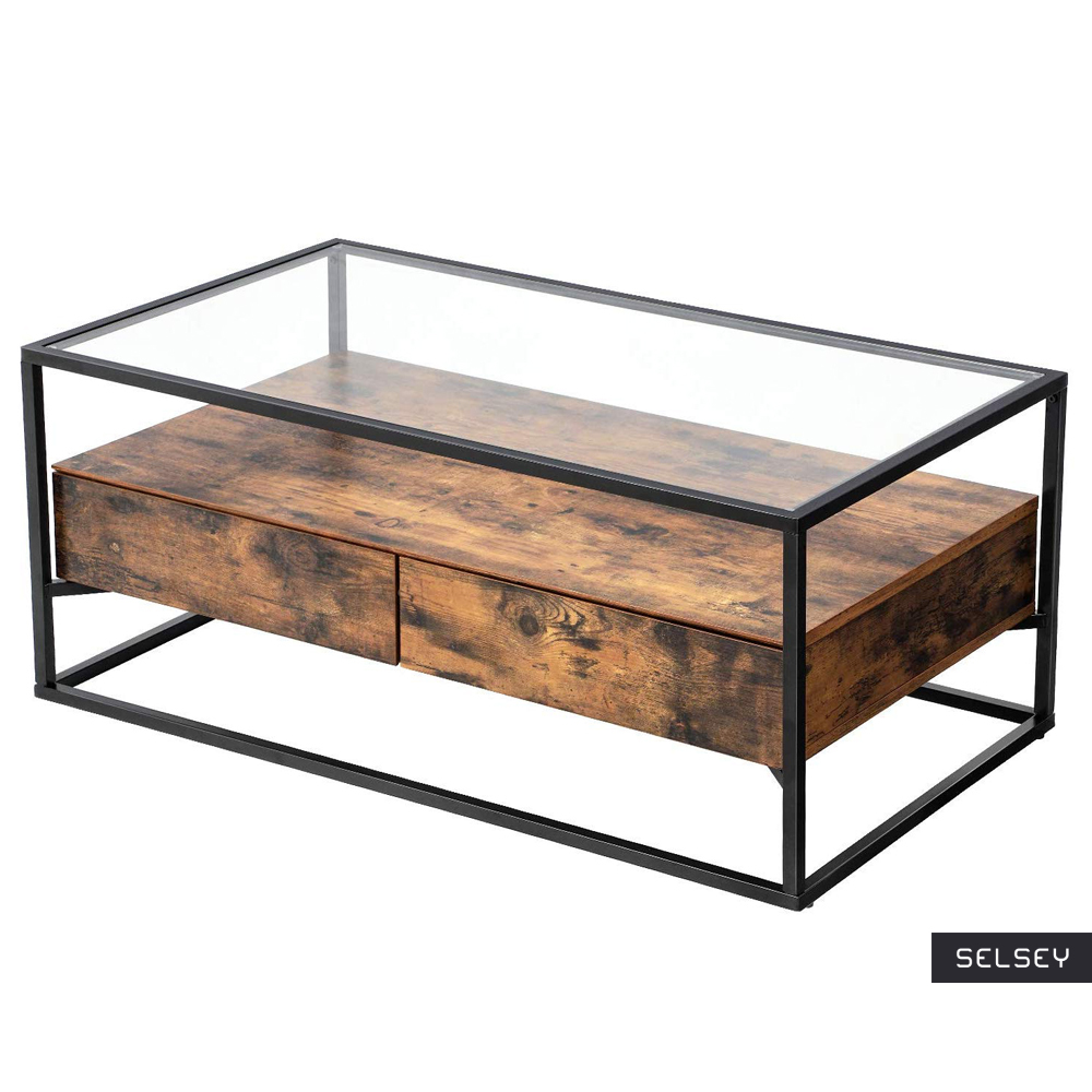RAMIZU Table basse industrielle plateau en verre