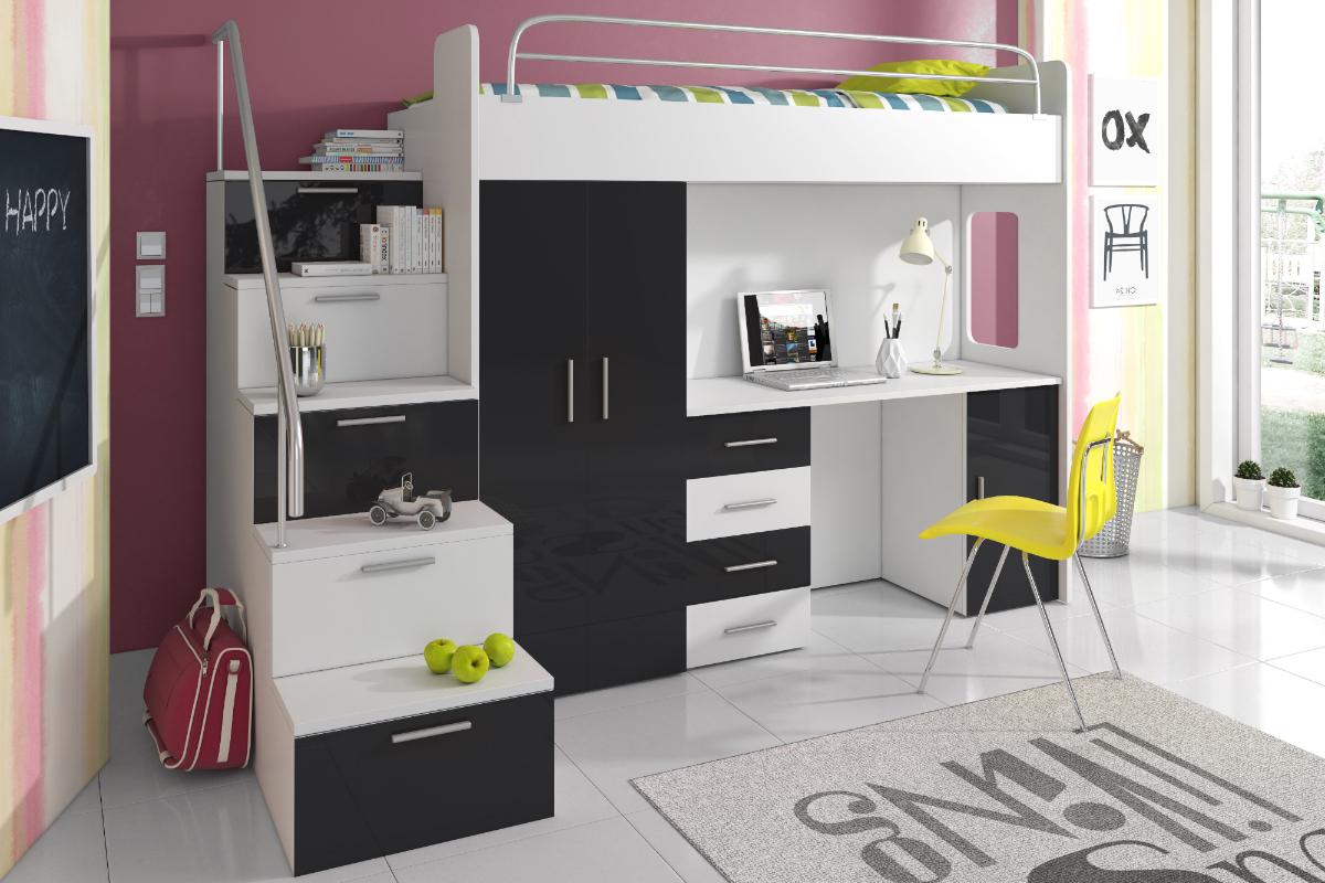 Asuria Combinaison Lit Mezzanine Avec Escalier Bureau Et Rangements Selsey