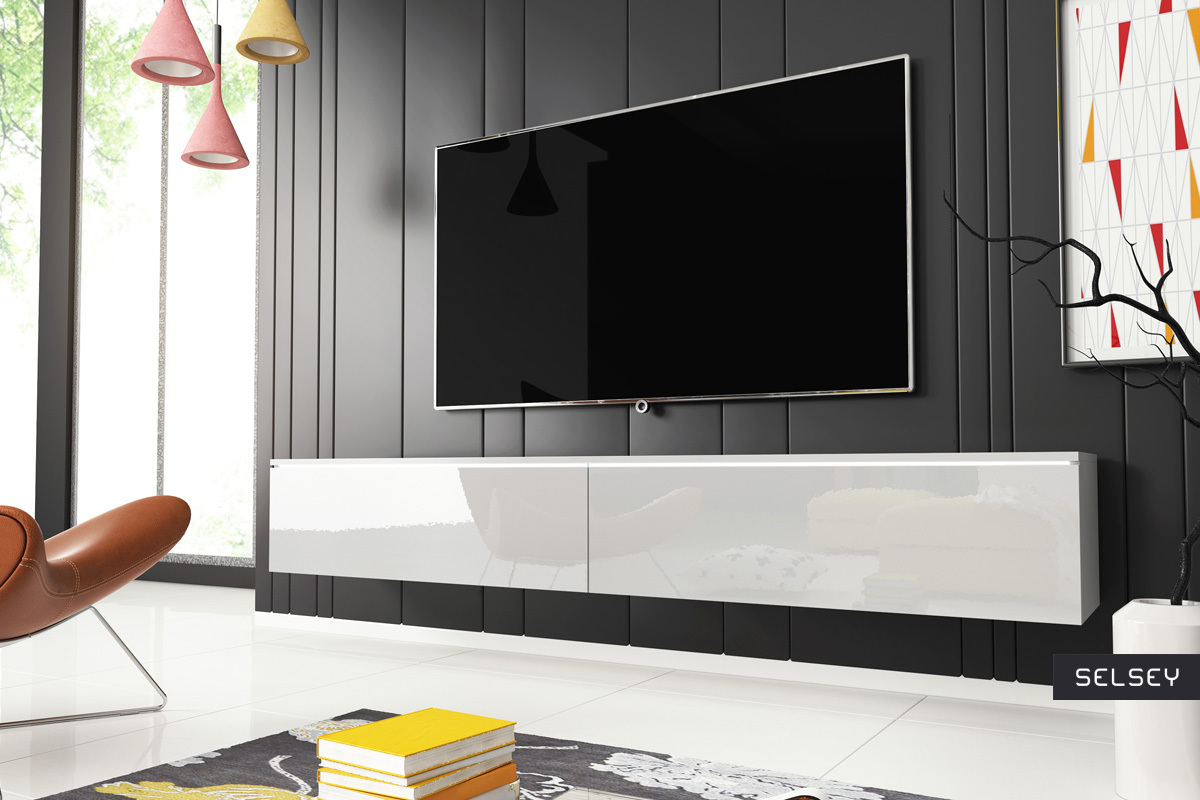 Meuble Tv Grande Taille kane meuble tv suspendu 180 cm