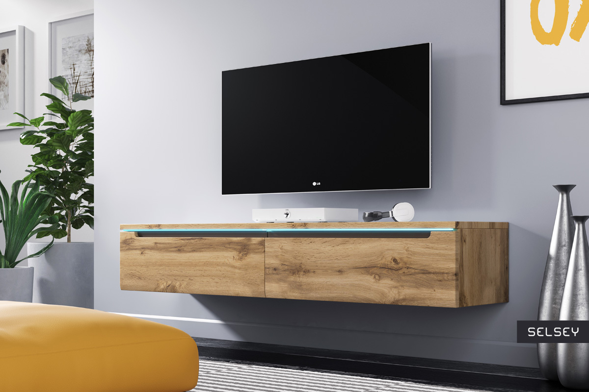 Meuble Tv Angle Suspendu swift meuble tv led 140 cm