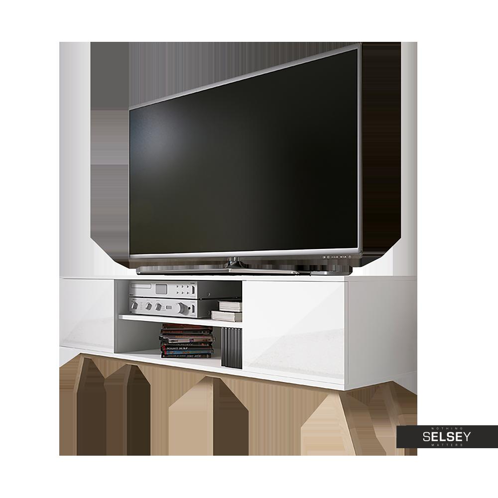 VEROZIA LIGNNUM Meuble TV scandinave 150 cm blanc mat