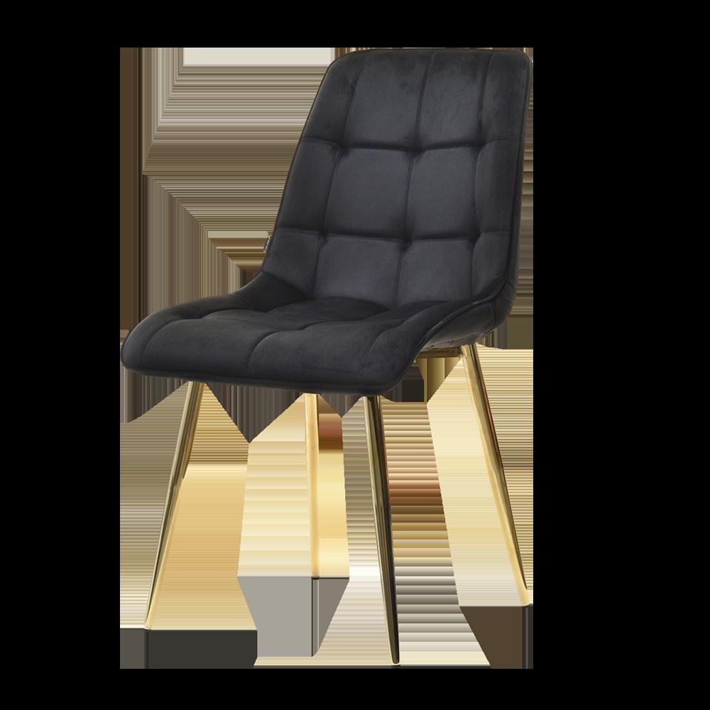 OLSEN Chaise matelassée noire pieds or