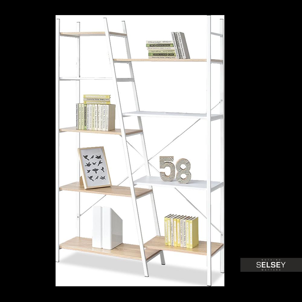 PYTHON Bibliothèque asymétrique 9 étagères blanc / effet chêne