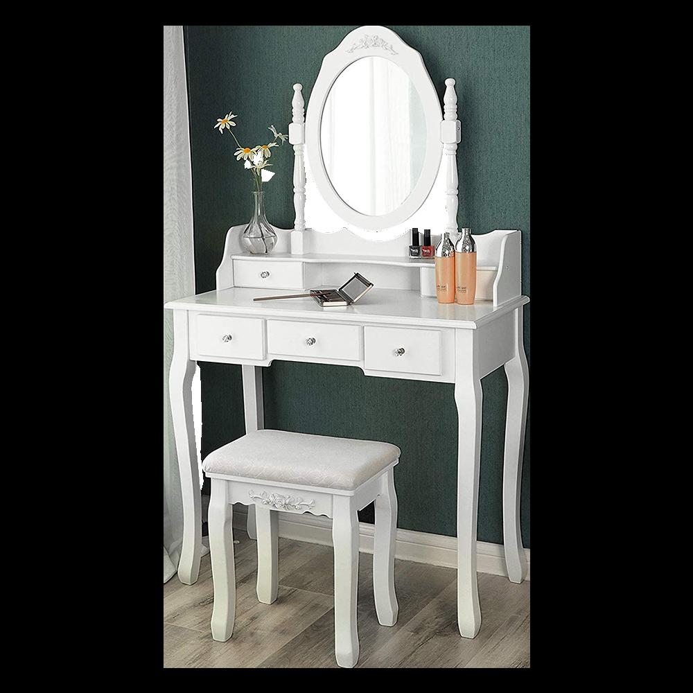 SHALOW DUALLE Coiffeuse 80 cm avec miroir et tabouret