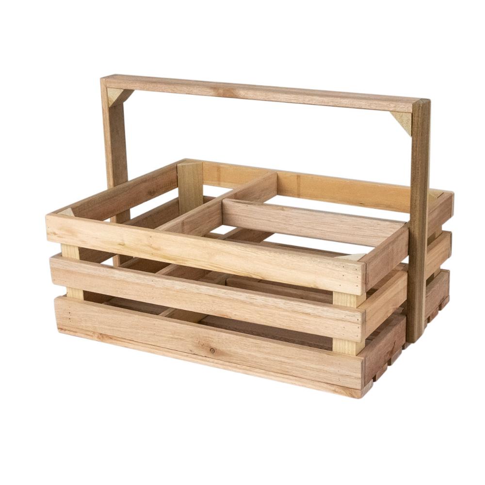 LUCYPIO Caisse en bois avec anse 3 compartiments