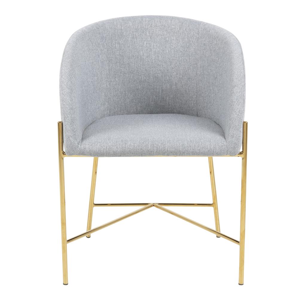 RIBIOC Chaise tapissée gris clair pieds dorés