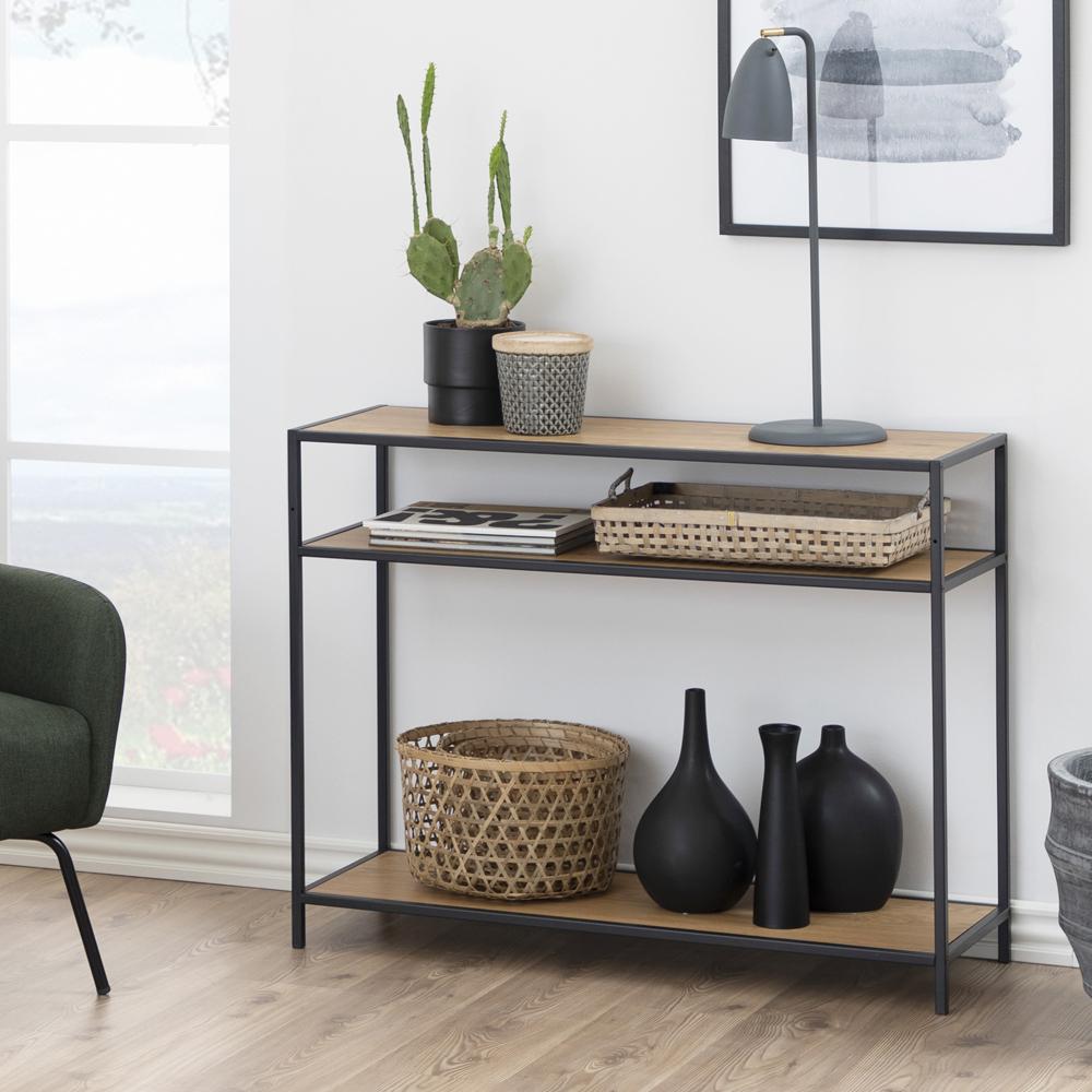 Chêne Table basse salon meuble design moderne avec étagère Blanc Noir