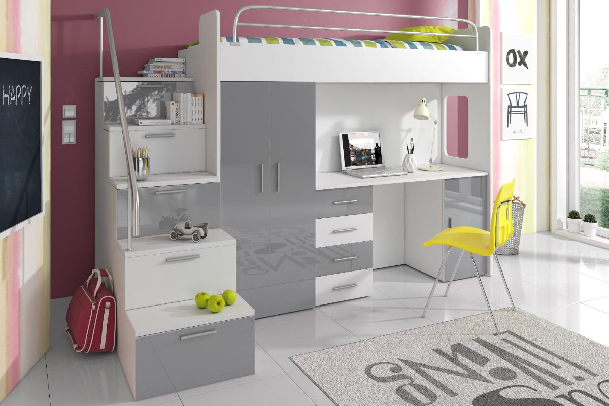ASURIA Combinaison lit mezzanine avec escalier, bureau et rangements - Selsey