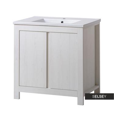 FRANCISCO Meuble sous lavabo effet chêne blanchi 80 cm