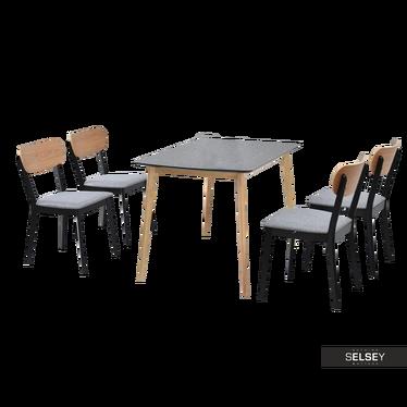 RASTO Table noir / chêne avec chaises