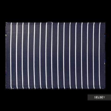 OUTDOOR Tapis extérieur à rayures larges bleu marine 120x180 cm