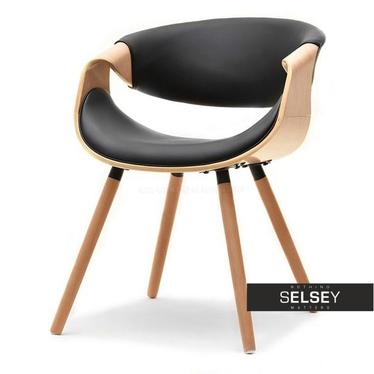 BENTIAL Chaise tapissée chêne / noir