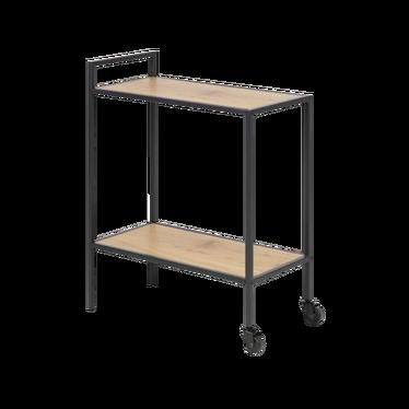 SEAFORD Table à roulettes chêne / métal noir