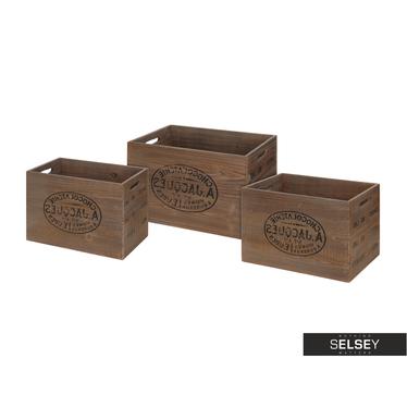 Set de 3 boîtes de rangement en bois brun