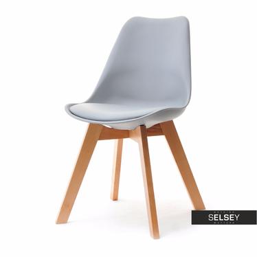 LUIS BOIS Chaise scandinave grise pieds hêtre