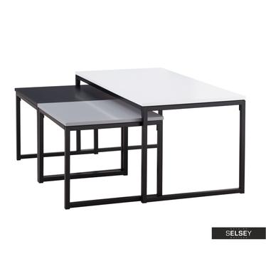 MONOCHROME Tables basses gigognes 100x50 cm et 45x47 cm