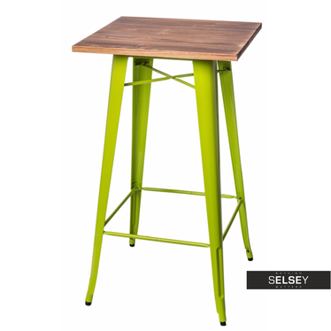 PARIS WOOD Table de bar vert clair / pin  60x60 cm