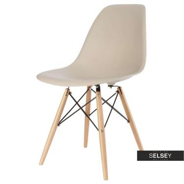 BASIC Chaise scandinave beige pieds hêtre