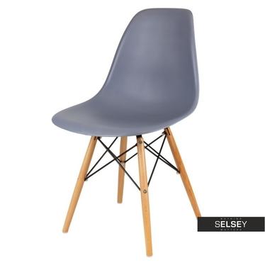 BASIC Chaise scandinave gris ardoise pieds hêtre