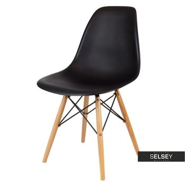 BASIC Chaise scandinave noire pieds hêtre