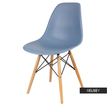 BASIC Chaise scandinave bleu-gris pieds hêtre