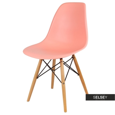 BASIC Chaise scandinave rose saumon pieds hêtre
