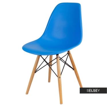 BASIC Chaise scandinave bleue pieds hêtre
