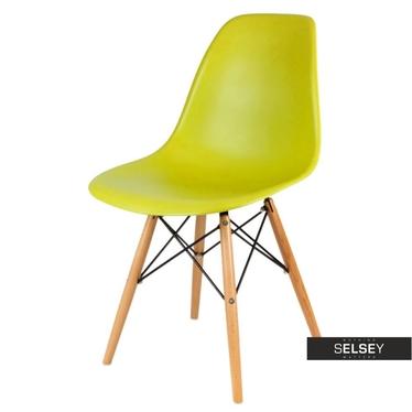 BASIC Chaise scandinave citron vert pieds hêtre