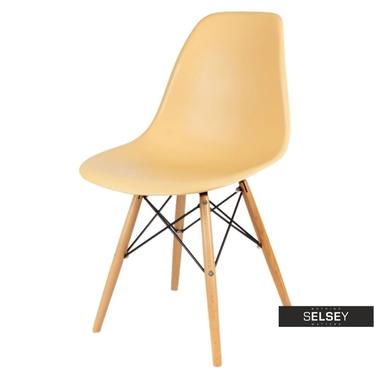 BASIC Chaise scandinave beige abricot pieds hêtre