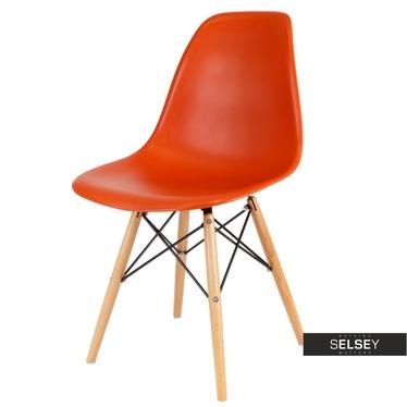 BASIC Chaise scandinave orange corail pieds hêtre