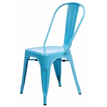 PARIS Chaise en métal bleue