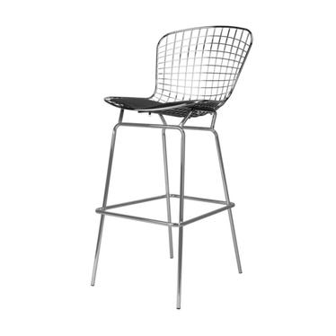 HARRY Tabouret de bar en métal / galette de chaise noire