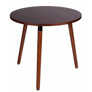 COPINE Table à manger ronde effet noyer 80 cm