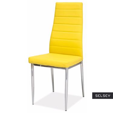 LASTAD Chaise jaune pieds acier chromé