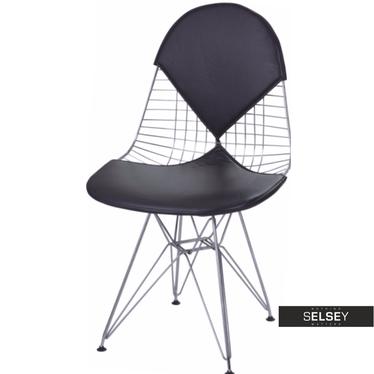 NET DOUBLE Chaise en métal / galette de chaise noire