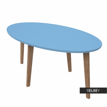 NORMAN Table basse scandinave ovale bleue