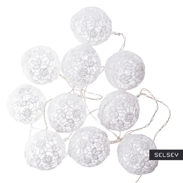 Guirlande lumineuse boules de coton 10 x 6 cm