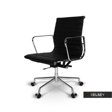 EAMES 117 Fauteuil de bureau professionnel similicuir noir / chrome