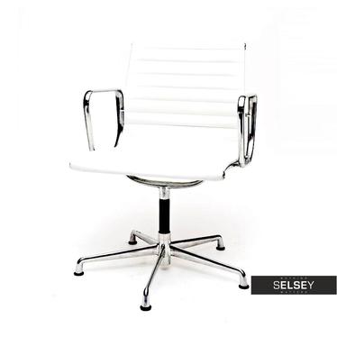 EAMES 108 Fauteuil de bureau professionnel similicuir blanc / chrome