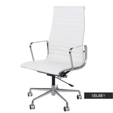 EAMES 119 Fauteuil de bureau professionnel similicuir blanc / chrome