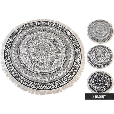 Tapis mandala rond à frange 150 cm