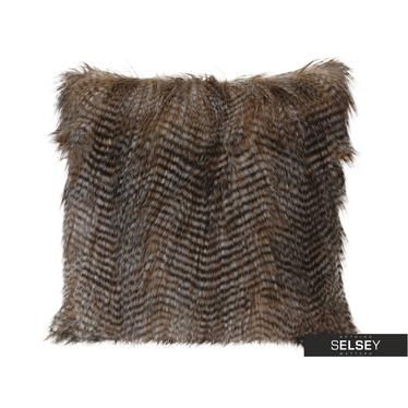 Coussin en fausse fourrure long crin 45x45 cm