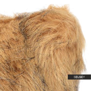 Coussin en fausse fourrure marron clair 45 x 45 cm