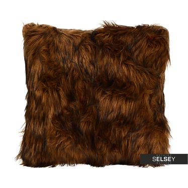Coussin en fausse fourrure marron foncé 45 x 45 cm