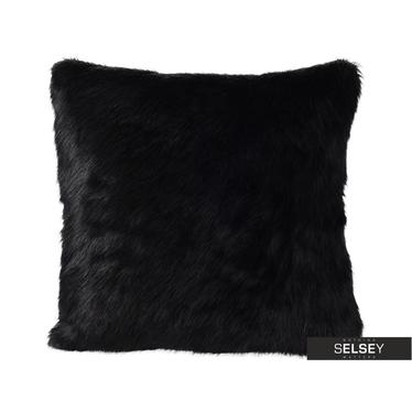 Coussin en fausse fourrure noir 45 x 45 cm