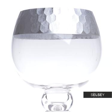 Photophore sur pied en verre / argent 30, 35 ou 40 cm