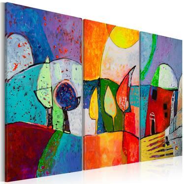 PAYSAGE MULTICOLORE tableau peinture