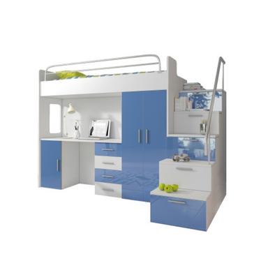 ASURIA Combinaison lit mezzanine avec escalier, bureau et rangements