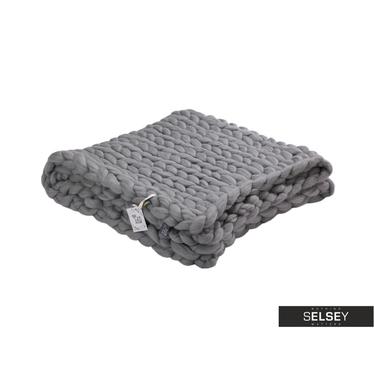 MERINO WOOL Plaid en laine mérinos gris