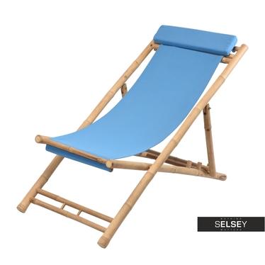 BAMBOU Chaise transat bleue